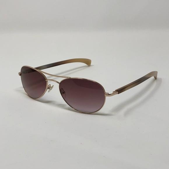 e9250b016cf0 Gold   Wood horn aviator sunglasses